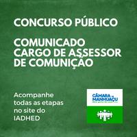 Comunicado reaplicação das Provas Assessor de Comunicação